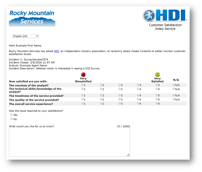 HDI CSI Survey Questionnaire